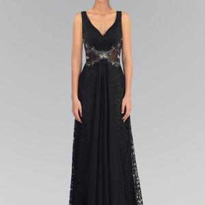 Sheer Waist Long Evening Dress GL1092